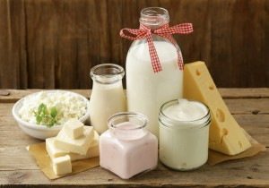 organic dairy products - milk, sour cream, cottage cheese, yogurt